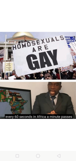 HOMOSEXUALS ARE GAY 😂😂: HOMOSEXUALS  ARE  CINICH  M  RIM  GAY  Da  Csrd  every 60 seconds in Africa a minute passes HOMOSEXUALS ARE GAY 😂😂