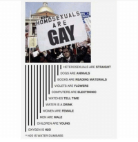 """Animals, Books, and Children: HOMOSEXUALS  ARE  GAY  HETEROSEXUALS ARE STRAIGHT  DOGS ARE ANIMALS  BOOKS ARE READING MATERIALS  VIOLETS ARE FLOWERS  COMPUTERS ARE ELECTRONIC  WATCHES TELL TIME  WATER IS A DRINK  WOMEN ARE FEMALE  MEN ARE MALE  CHILDREN ARE YOUNG  OXYGEN IS H20  A H20 IS WATER DUMBASS <p><a href=""""http://memehumor.net/post/171097157063/oxygen-is"""" class=""""tumblr_blog"""">memehumor</a>:</p>  <blockquote><p>OXYGEN IS…</p></blockquote>"""