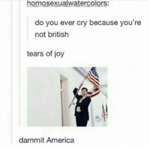 America, British, and Joy: homosexualwatercolors:  do you ever cry because you're  not british  tears of joy  dammit America Tears of Joy