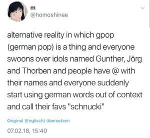 """Pop, Reality, and German: @homoshinee  alternative reality in which gpop  (german pop) is a thing and everyone  swoons over idols named Gunther, Jörç  and Thorben and people have @ with  their names and everyone suddenly  start using german words out of context  and call their favs """"schnucki""""  Original (Englisch) übersetzen  07.02.18, 15:40"""