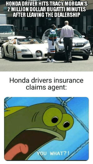 YOU WHAT?!: HONDA DRIVER HITS TRACY MORGAN'S  2MILLION DOLLAR BUGATTI MINUTES  AFTER LEAVING THE DEALERSHIP  Honda drivers insurance  claims agent:  YOU WHAT?! YOU WHAT?!