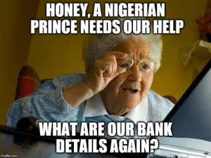 Grandma Finds Internet: HONEY, A NIGERIAN  PRINCE NEEDS OUR HELP  WHAT ARE OURBANK  DETAILS AGAIN?  imgflip.com