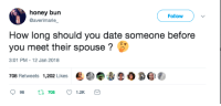 Blackpeopletwitter, Soon..., and Date: honey bun  @averimarie  Follow  How long should you date someone before  you meet their spouse?6  3:01 PM -12 Jan 2018  708 Retweets 1,202 Likes  1.2K <p>How soon is too soon? (via /r/BlackPeopleTwitter)</p>
