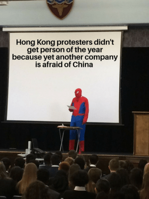 Big sad via /r/memes https://ift.tt/2sq2kYQ: Hong Kong protesters didn't  get person of the year  because yet another company  is afraid of China Big sad via /r/memes https://ift.tt/2sq2kYQ