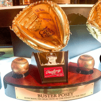 Tremendous honor to be recognized with the Gold Glove Award! rawlings: HONOR  IN THE FIELD  Life ToEa  OEg  PROSCM41JB  24 INCH  Est, 1887  AWLINGS GOLD GLOVE AWARD  PRESENTED TO  How-BUSTERPOSEY,THE FIELD'  G HIS SELECTION AS THE FINEST IN-  TINTHE F  TVN Tremendous honor to be recognized with the Gold Glove Award! rawlings