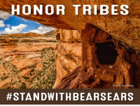 "Future, Memes, and Bears: HONOR TRIBES  Photo by Josh Ewing  #STAND WITH BEARSEARS SHARE to #StandWithBearsEars!  ""As Tribes, we will gather ourselves together to continue the fight to save our lands for the future of not just Native people, but all people who connect with these lands."" - Shaun Chapoose, Chairman of the Ute Indian Tribe Business Committee  Take action to defend Bears Ears National Monument by tweeting to Interior Secretary Ryan Zinke: http://bit.ly/2pfxblo"