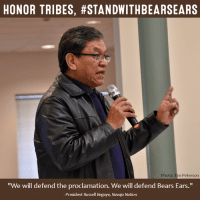 """#StandWithBearsEars! Today the Navajo Nation reaffirmed its commitment to defending the #BearsEars National Monument, following a 19-0 vote in January by the Navajo Nation Council.  Read the press release here: http://bit.ly/2kYQcpR: HONOR TRIBES, #STANDWITHBEARSEARS  Photo: Tim Peterson  """"We will defend the proclamation. We will defend Bears Ears.""""  President Russell Begaye, Navajo Nation #StandWithBearsEars! Today the Navajo Nation reaffirmed its commitment to defending the #BearsEars National Monument, following a 19-0 vote in January by the Navajo Nation Council.  Read the press release here: http://bit.ly/2kYQcpR"""