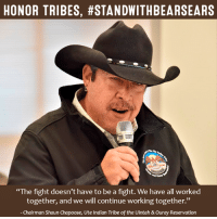"""SHARE to #StandWithBearsEars!   """"The fight doesn't have to be a fight. We have all worked together, and we will continue working together.""""  Read our invitation to Interior Secretary-Designate Ryan Zinke to discuss #BearsEars National Monument and its importance to Native people: bit.ly/2kHZrKR: HONOR TRIBES, #STANDWITHBEARSEARS  """"The fight doesn't have to be a fight. We have all worked  together, and we will continue working together.""""  Chairman Shaun Chapoose, Ute Indian Tribe of the Uintah &ouray Reservation SHARE to #StandWithBearsEars!   """"The fight doesn't have to be a fight. We have all worked together, and we will continue working together.""""  Read our invitation to Interior Secretary-Designate Ryan Zinke to discuss #BearsEars National Monument and its importance to Native people: bit.ly/2kHZrKR"""