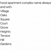 Complex, Memes, and Square: hood apartment complex name always  end with:  Village  Oaks  Square  Court  Grove  Heights  Terrace  Hill  Gardens Tell Me I'm Lying 😂😂😂😂😂😂 pettypost pettyastheycome straightclownin hegotjokes jokesfordays itsjustjokespeople itsfunnytome funnyisfunny randomhumor