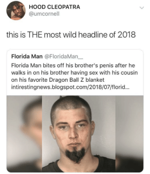 Dank, Florida Man, and Memes: HOOD CLEOPATRA  @umcornell  this is THE most wild headline of 2018  Florida Man @FloridaMan一  Florida Man bites off his brother's penis after he  walks in on his brother having sex with his cousin  on his favorite Dragon Ball Z blanket  intirestingnews.blogspot.com/2018/07/florid... Florida dudes really are different different by O-shi MORE MEMES
