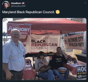 "republican: Hoodlum E  @HoodlumRIP  Maryland Black Republican Council.  Charles  ATHONY  gress  MARYLAND  BLACK  REPUBLICAN  COUNCIL  PATMORE CITY  REPUBLICAN PARTY  DGOFORG/BLACKCO  www.M  OREA  TRUM  TRUM  ""RUM  45TH  US PRESIDEN  Нос  RUTHEI  MARYLAND Hoganfe"