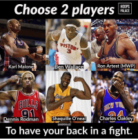 Choose 2 players to have your back in a fight👇😂 (via @hoopspalace): HOOPS  PALACE  Choose 2 players  PISTON  PISTON  Ben Wallace  Ron Artest (MWP)  Karl Malone  AULL  Shaquille O'neal  Charles Oakley  nnis Rodman  @HOOPSPALACE  To have your back in a fight. Choose 2 players to have your back in a fight👇😂 (via @hoopspalace)