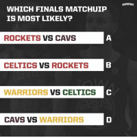 Cavs, Finals, and Celtics: HOOPSUPDATE  WHICH FINALS MATCHUIP  IS MOST LIKELY?  ROCKETS VS CAVS  CELTICS VS ROCKETS  WARRIORS VS CELTICS  C  CAVS VS WARRIORS Are we gonna see Cavs Warriors V4? 🤔