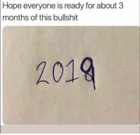 Funny, Smh, and Bullshit: Hope  everyone is ready for about 3  months of this bullshit  2019 Smh