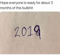 Dank, Bullshit, and Hope: Hope everyone is ready for about 3  months of this bullshit  2019
