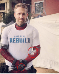 Just noticed that this photo of Ryan shows Deadpool with a bullet wound and injured arm, do you think Deadpool's healing factor is failing? 💀 • • • Follow @deadpoolfacts for your daily Deadpool dose. 👇👇👇👇 @vancityreynolds 🙌 wadewilson marvelnation driveby q dc fox movies deadpool marvel deadpool2 hahaha lmfao heh: HOPE. HEAL  REBUILD Just noticed that this photo of Ryan shows Deadpool with a bullet wound and injured arm, do you think Deadpool's healing factor is failing? 💀 • • • Follow @deadpoolfacts for your daily Deadpool dose. 👇👇👇👇 @vancityreynolds 🙌 wadewilson marvelnation driveby q dc fox movies deadpool marvel deadpool2 hahaha lmfao heh