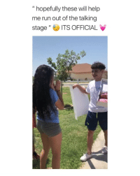 "Cute, Girls, and Run: "" hopefully these will help  me run out of the talking  stageITS OFFICIAL its so cute seeing boys still asking girls to be their girlfriend (via: twitter - aammzz_ )"