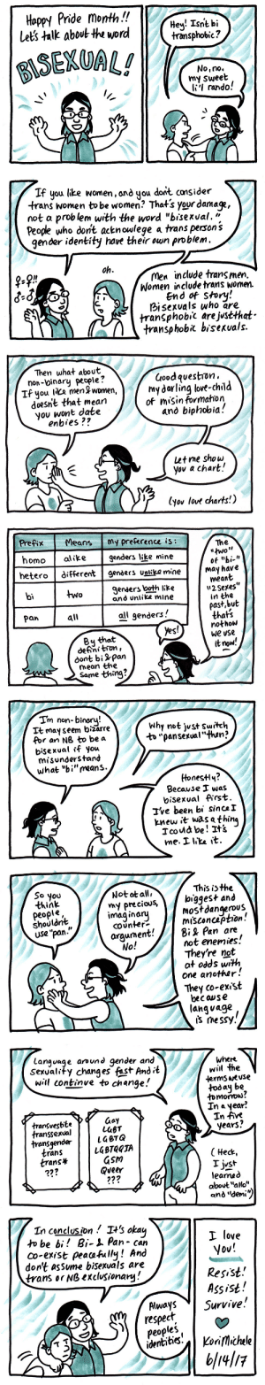 "koricomics: A little sketch comic about how bisexuality is totally cool and good and not bad. The format is   cliché!  I know.  But it makes it easy to talk about things I want to talk about.  Thanks for reading! (I shouldn't have to say this, but since a lot of people wanted to educate me on twitter: The words listed in panel seven [yes even in the parentheticals!] are just examples of how often acceptable language around gender and sexuality changes.  They are not lists of synonymous words, and many of them are now considered unacceptable.  That's why they're on the list. That's what the list IS. I know.) : Hoppy Pride month.!!  Lets talk about the word  Hev! Isnt bi  transphobic?  ESEKUAL!  No,no.  my sweet  Ii'l rando!  If you like women, and you dont cansider  trans women tobe women? That's your damage,  not a prob lem with the word ""bisexual. ""  People who dont acknowlege a trans person 's  gender identity have their own problem  oh  Men include trans men.  Women include trans women.  End Story:  bisexvals who are  transphobic are justthat  transphobl bisexvals.  f-f!""   Then what about  non-binary people?  If you like men & women,  doesn't that mean  you wont date  enbies ??  üoodqvestron  my darling lovt-chil  of misin formahon  and biphobia!  et me show  yov a chart!  (yov love charts!)  Prefix MeansMy preference is:  homoalike genders like mine  hetero different genders unlik? mine  The  of ""bi-""  May have  meant  u2Setes  in the  past,but  thats  nothow  We use  it now'  Ienders both like  and unlike mine  bi  two  pan  all  all qenders  By that  defni tron  доnt bi -pan  mean the  Same thmg?   Tm non-binory  Tt may seem bizarre  Por an N8 to be a  bisexual ff you  misunderstand  what ""bi""reans.  Why not jvst Switeh  to ""pansexual""than?  HonesH«  Because was  bisexval ffrst  've been bi since!  knew it was a thin  icou be ! 과  me. ..ke it.  This is the  So you  think  peopl«  shouldnt  USe ""pan.  Notatall,  ny precious, \ bigges+ and  imaginaj  mostdangerous  misconcaption  COUnter-  arqument!  li  