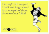 Child Support, Memes, and Shoes: Horraay! Child support!  I can't wait to go spend  it on one pair of shoes  for one of our 3 kids  someecards  ее  user card