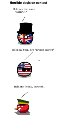 """Beer, Club, and Tumblr: Horrible decision contest  Hold my tea, mate  *BREXIT*  Hold my beer, bro *Trump elected*  Hold my kebab, kardesh. <p><a href=""""http://laughoutloud-club.tumblr.com/post/160019252308/things-are-getting-fun"""" class=""""tumblr_blog"""">laughoutloud-club</a>:</p>  <blockquote><p>Things are getting fun</p></blockquote>"""