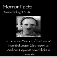 """#TheHorrorFansClubPage: Horror Facts  @caspertheeknight I.G  In the movie, """"Silence of the Lambs  Hannibal Lector also known as  Anthony Hopkins) never blinks In  the movie #TheHorrorFansClubPage"""