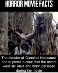 "HORROR MDVIE FACTS  The director of ""Cannibal Holocaust'  had to prove in court that the actors  were still alive and didn't get killed  during the movie"