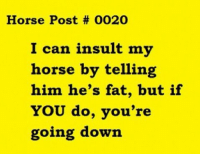 Horse, Fat, and Him: Horse Post # 0020  I can insult my  horse by telling  him he's fat, but if  YOU do, you're  going down
