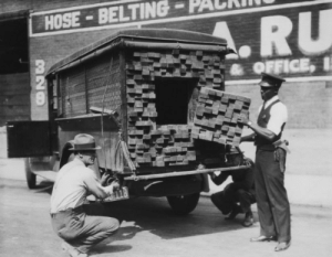 Prohibition, Stash, and Truck: HOSE-BELTING-PURI A lumber truck converted to a stash truck to smuggle illegal liquor during prohibition!