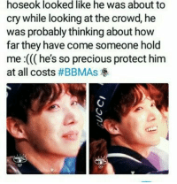 : hoseok looked like he was about to  cry while looking at the crowd, he  was probably thinking about how  far they have come someone hold  me :((( he's so precious protect him  at all costs