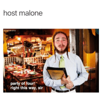 Memes, Party, and 🤖: host malone  party of four?  right this way, sir I don't know what's wrong with me 😩