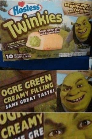 I would eat these every day if I could, but I can only dream of having Ogre Cream in my mouth.: Hostess  Yeud WIN  Happily Ever Afte  Twinkies  Vácation)  Ceer thrtati Pret  Golden Sponge Cako  Cith Creamy Filling  OGRE GREEN  CREAMY FILLING  LAHE GRAT TASTE  INDIVIDUALLY  1O WRAPPED CAKES  SareK  CREAMY FILLING  SAME GREAT TASTEI  OGRE GREEN  CREAMY  IE GRE I would eat these every day if I could, but I can only dream of having Ogre Cream in my mouth.