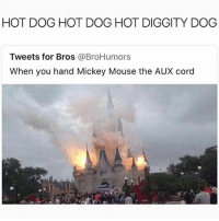 Memes, Mickey Mouse, and Mouse: HOT DOG HOT DOG HOT DIGGITY DOG  Tweets for Bros @BroHumors  When you hand Mickey Mouse the AUX cord Mickey threw on @lilpump