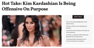 femestella: Kim Kardashian recently filed a trademark for the name of her new shapewear line and — shocker — it's incredibly offensive. The line is going to be called Kimono, you know, as in the traditional Japanese garment.  Kim responded to the backlash but didn't actually apologize. This is pretty much the Kardashian-Jenner M.O.: do something offensive, respond without an actual apology, and then go about their merry way. We've seen it time and time again with Kendall Jenner's Pepsi ad (she still hasn't technically apologized), Kim's blackface, and Kylie's *numerous* instances of cultural appropriation. And that doesn't even begin to cover it all. The strange thing is that each time a KarJenner pulls a stunt like this, the internet reacts with shock and awe all over again as if they're surprised by the behavior. It seems pretty obvious though: the KarJenners are doing it on purpose. Continue reading here. : Hot Take: Kim Kardashian Is Being  Offensive On Purpose  MOST READ  Pervert Tries to Sexualize Billie Eilish, Twitter  Takes Him Down  5 Women on What It's Like to Be Raped by a  Boyfriend  Anders Holm and Emma Nesper Are Perhaps The  Cutest Couple Ever  'Good Girls': Loving Beth and Rio's Relationship  Makes Me Feel Like a Bad Feminist  J.K. Rowling Has Been Following Anti-Trans  Activists And We Need an Explanation femestella: Kim Kardashian recently filed a trademark for the name of her new shapewear line and — shocker — it's incredibly offensive. The line is going to be called Kimono, you know, as in the traditional Japanese garment.  Kim responded to the backlash but didn't actually apologize. This is pretty much the Kardashian-Jenner M.O.: do something offensive, respond without an actual apology, and then go about their merry way. We've seen it time and time again with Kendall Jenner's Pepsi ad (she still hasn't technically apologized), Kim's blackface, and Kylie's *numerous* instances of cultural appropriation. And that doesn't even begin to cover it all. The strange thing is that each time a KarJenner pulls a stunt like this, the internet reacts with shock and awe all over again as if they're surprised by the behavior. It seems pretty obvious though: the KarJenners are doing it on purpose. Continue reading here.