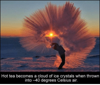 Memes, Cloud, and 🤖: Hot tea becomes a cloud of ice crystals when thrown  into -40 degrees Celsius air.