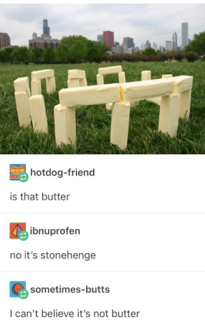 Stonehenge, Friend, and Believe: hotdog-friend  is that butter  ibnuprofern  no it's stonehenge  sometimes-butts  I can't believe it's not butter You butter believe it