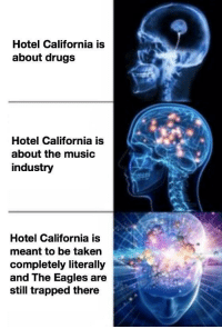 """Drugs, Philadelphia Eagles, and Music: Hotel California is  about drugs  Hotel California is  about the music  industry  Hotel California is  meant to be taken  completely literally  and The Eagles are  still trapped there <p><a href=""""http://memehumor.net/post/175011343708/such-a-lovely-place"""" class=""""tumblr_blog"""">memehumor</a>:</p>  <blockquote><p>Such a lovely place…</p></blockquote>"""