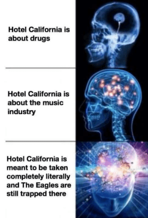 Drugs, Philadelphia Eagles, and Music: Hotel California is  about drugs  Hotel California is  about the music  industry  Hotel California is  meant to be taken  completely literally  and The Eagles are  still trapped there meirl