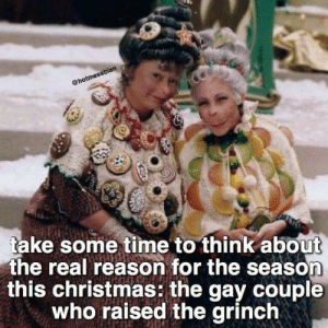 Gay🎄irl: @hotmessbian  take some time to think about  the real reason for the season  this christmas: the gay couple  who raised the grinch Gay🎄irl