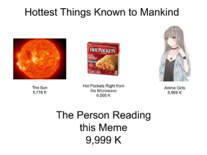 Wholesome Memeing by Senya4 MORE MEMES: Hottest Things Known to Mankind  НоT РОСКЕIS  HAM &  CHEDDAR  2  Hot Pockets Right from  the Microwave  The Sun  Anime Girls  5,778 K  6,969 K  6,000 K  The Person Reading  this Meme  9,999 K Wholesome Memeing by Senya4 MORE MEMES