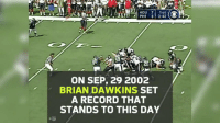 Memes, Game, and Record: HOU 71st  PHI 3 2:42  20  ON SEP, 29 2002  BRIAN DAWKINS SET  A RECORD THAT  STANDS TO THIS DAY No one's EVER had a game...  Like this @BrianDawkins game. 😱🦅 #PFHOF18 https://t.co/7X77CcZEVL