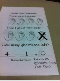 Ghost, House, and How: Hounted House: Subtracting  There were 4 ghosts.  Then 1 ghost flew away.  How many ghosts are left?  4  OEnchantedLearning.com eeaust  hosts are  nt real
