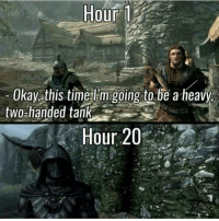Skyrim, Eso, and Dragon: Hour  1  Okay this time l m going to be aheavy,  two-handed tank  Hour 20 QOTP: What is usually your 'end game' gear? ~ Repost from @videogames_daily_ ~ Accounts: - Other TES IG: @tundraofskyrim - Twitter: skyrim_dragon_ - Snapchat: cocoachicken - YouTube: Link in bio. - Personal: @holly_rowlands_ • tes elderscrolls theelderscrolls elderscrollsv theelderscrollsv elderscrollsonline eso skyrim skyrimmeme skyrimmemes gaming game games rpg dovahkiin Dragonborn Bethesda dragon dragons helgen nightingale nightingalearmor tinysmile