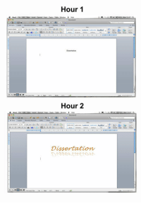 srsfunny:Well, So Far So Good: Hour 1  Word Fil, Edit Vie- iniert format font Toon table wnde- H  Hour 2  Table Window  Helo  Dissertation srsfunny:Well, So Far So Good