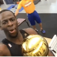 Basketball, Draymond Green, and Golden State Warriors: Hours after the Warriors won another ring Draymond Green is in the gym getting a lift in. 🏆 (Via Draymond Green-Snapchat)