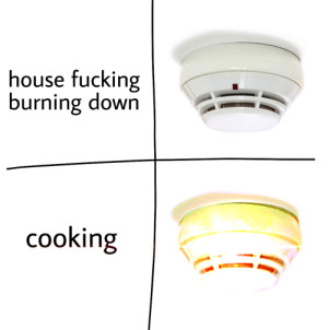 Fucking, House, and Down: house fucking  burning down  cooking Why are they like this?