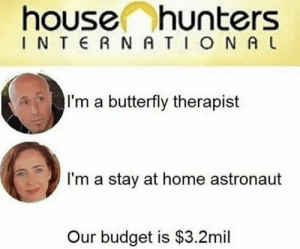 Memes, Budget, and Butterfly: house hunters  I N T  R N A TO N A L  I'm a butterfly therapist  I'm a stay at home astronaut  Our budget is $3.2mil House hunters everybody via /r/memes https://ift.tt/2Sdd84d
