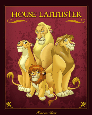 game-of-thrones-fans:  The Lannisters drawn in similar vein as the Lion King: HOUSE LAHIHISTER game-of-thrones-fans:  The Lannisters drawn in similar vein as the Lion King