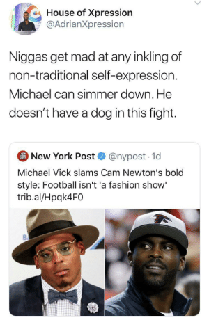 I got a bone to pick with Mike for that statement ?: House of Xpression  @AdrianXpression  Niggas get mad at any inkling of  non-traditional self-expression.  Michael can simmer down. He  doesn't have a dog in this fight.  New York Post  NEW  YORK  POST  @nypost 1d  Michael Vick slams Cam Newton's bold  style: Football isn't 'a fashion show'  trib.al/Hpqk4F0 I got a bone to pick with Mike for that statement ?