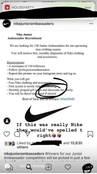 chisme semestre nacido  HOUSEPARTY Now Nikeiuniorambassaders Nike Junior Ambassador Recruitment We  Are Looking for 150 Junior Ambassadors for Our Upcoming Teen Clothing  Season You Will Recieve Free Monthly Shipments of Nike Clothing and  Accessories Requirements -