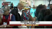 Earlier today, President Trump and First Lady Melania Trump visited Houston, Texas again today, where they greeted and served meals to survivors of Hurricane Harvey.: HOUSTON  12:37 PM CT  PRESIDENT TRUMP SPEAKS  AT NRG CENTER  FOX NEWS ALERT  FOX  NEWS Earlier today, President Trump and First Lady Melania Trump visited Houston, Texas again today, where they greeted and served meals to survivors of Hurricane Harvey.